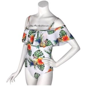 Other - Pineapple palm leaf ruffle one piece swimsuit